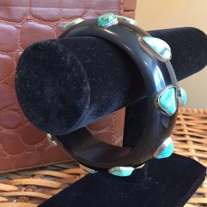 Jewelry - Wide Turquoise Encrusted Bangle